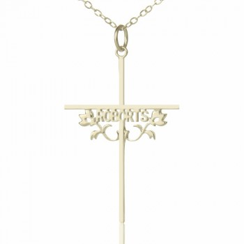 Silver Cross Name Necklaces with Rose