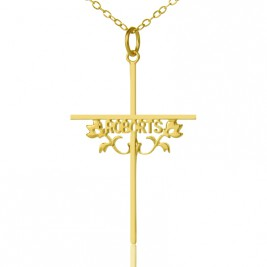 Gold Plated 952 Silver Cross Name Necklaces with Rose