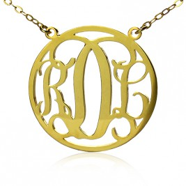 Circle 18ct Solid Gold Initial Monogram Name Necklace