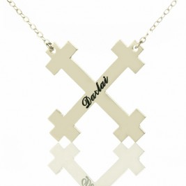 Silver Julian Cross Name Necklaces Troubadour Cross Jewellery