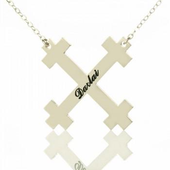 Silver Julian Cross Name Necklaces Troubadour Cross Jewellery