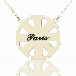 Customised Cross Necklace with Name Silver