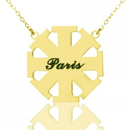 Customised Cross Necklace with Name 18ct Gold Plated 925 Silver