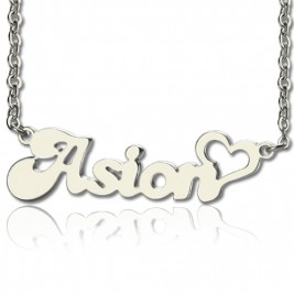 Custom BANANA Font Heart Shape Name Necklace White Gold  18ct