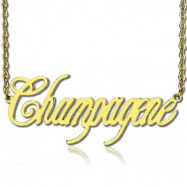 Solid Gold Personalised Champagne Font Name Necklace