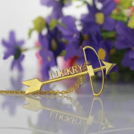 18ct Gold Plated 925 Silver Arrow Cross Name Necklaces Pendant Necklace