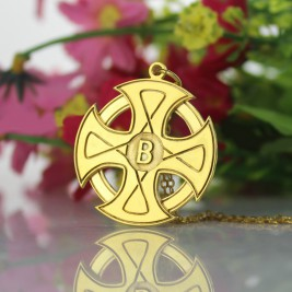 Engraved Celtic Cross Necklace 18ct Gold Plated 925 Silver
