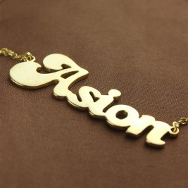 Personalised 18ct Gold Plated BANANA Font Style Name Necklace