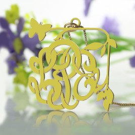 Vines  Butterfly Monogram Initial Necklace 18ct Gold Plated