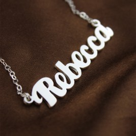 Personalised 18ct White Gold Plated Puff Font Name Necklace