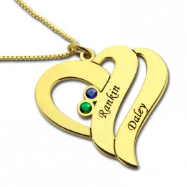 Two Hearts Forever One Love Necklace 18ct Gold Plated