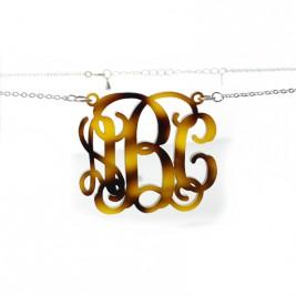Tortoise Acrylic Monogram Necklace