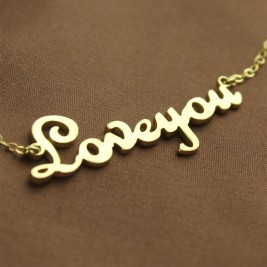 Personalised 18ct Gold Plated French Font I Love You Name Necklace