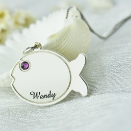 Fish Necklace Engraved Name Sterling Silver