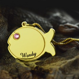 Kids Fish Name Necklace 18ct Gold Plated