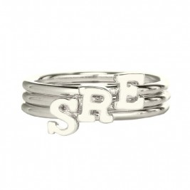 Personalised Women's Midi Initial Ring Sterling Silver