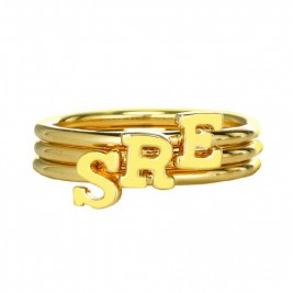 Custom Midi Initial Letter Ring 18ct Gold Plated