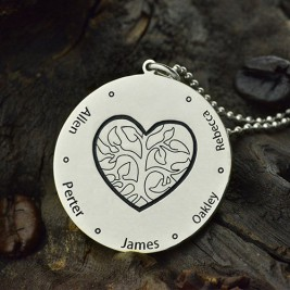 Family Tree Jewellery Necklace Engraved Names