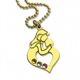 Personalised Mother Child Necklace with Birthstone Gold Plated Silver