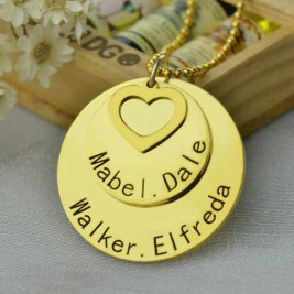 Disc Family Jewellery Necklace Engraved Name 18ct Gold Plated