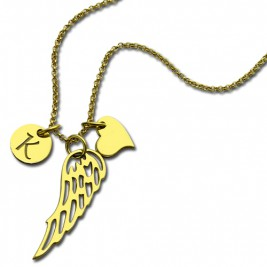 Good Luck Angel Wing Necklace with Initial Charm 18ct Gold Plated