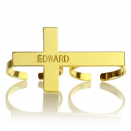 Engraved Name Two finger Cross Ring 18ct Gold Plated