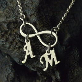 Personalised Infinity Necklace Double Initials Sterling Silver