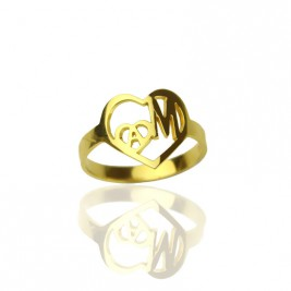 Personalised Heart in Heart Double Initial Ring 18ct Gold Plated