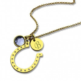 Birthstone Horseshoe Lucky Necklace with Initial Charm 18ct Gold Plate