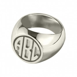 Personalised Signet Ring with Block Monogram Sterling Silver