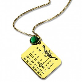 Birth Day Gifts - Birthday Calendar Necklace 18ct Gold Plated