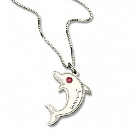 Dolphin Necklace with Birthstone  Name Sterling Silver
