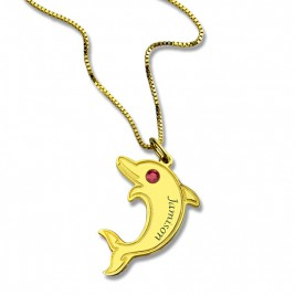 Dolphin Pendant Necklace with Birthstone  Name 18ct Gold Plated
