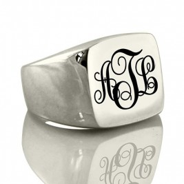 Personalised Signet Ring Sterling Silver with Monogram