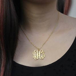 Solid Gold Taylor Swift Style Monogram Necklace 18ct