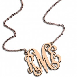 Custom 18ct Rose Gold Plated Monogram Initial Necklace