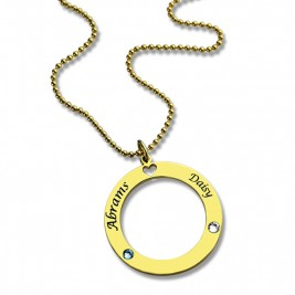 Circle of Love Name Necklace with Birthstone 18ct Gold Plated Silver