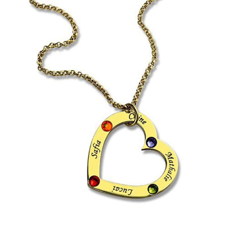 personalised necklaces gold plated birthstone heart. Black Bedroom Furniture Sets. Home Design Ideas