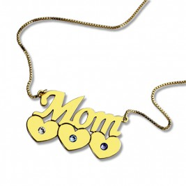 Moms Necklace With Children Birthstone In 18ct Gold Plated