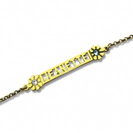 Personalised Birthstone Name Bracelet for Her 18ct Gold Plated