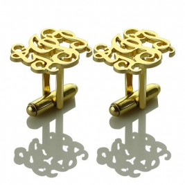 Monogrammed Cuff links Cut Out Initials 18ct Gold Plated