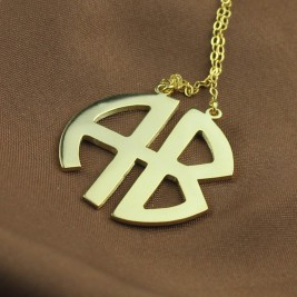 Two Initial Block Monogram Pendant 18ct Gold Plated