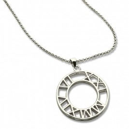 Double Circle Roman Numeral Necklace Clock Design Sterling Silver