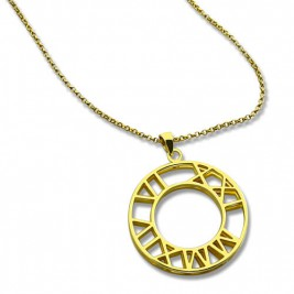 Double Circle Roman Numeral Necklace Clock Design Gold Plated Silver