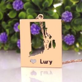 Personalised Rhode State Dog Tag With Heart  Name Rose Gold Plate