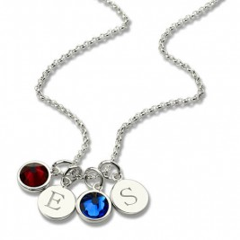 Personalised Double Initial Charm Necklace with Birthstone