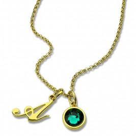 Custom Birthstone Initial Necklace 18ct Gold Plated