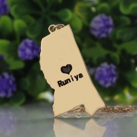 Mississippi State Shaped Necklaces With Heart  Name Rose Gold