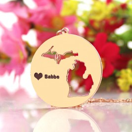 Custom Michigan Disc State Necklaces With Heart  Name Rose Gold