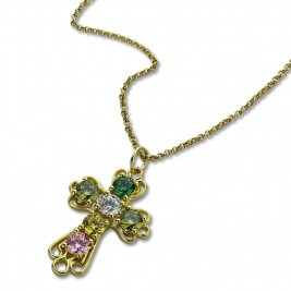 Personalised Cross necklace with Birthstones Gold Plated Silver